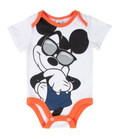 Body-Manga-Curta---Algodao---Branco-e-Laranja---Mickey-Mouse---Disney---M