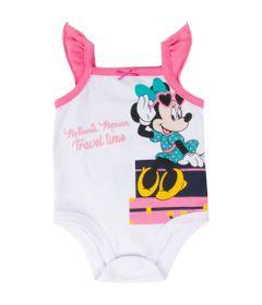 Body-Regata---Algodao---Rosa-e-Branco---Minnie-Mouse---Disney---P
