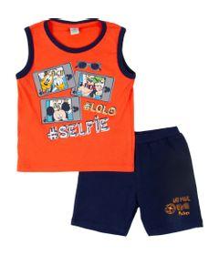 Conjunto-Camisa-Machao-e-Bermuda-Moletinho---Algodao---Azul-e-Laranja---Mickey-Mouse---Disney---1