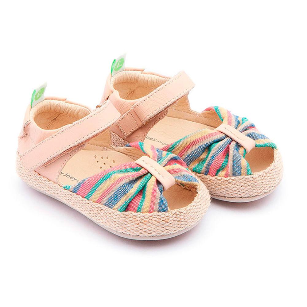 Sandália para Bebês - Linha Originals - Coasty - Rainbow Canvas - Yogurt - Tip Toey Joey
