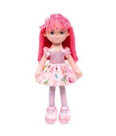 Boneca-de-Pelucia---34-Cm---Cupcake-na-Sacola---Vestido-Rosa-Floral---Buba
