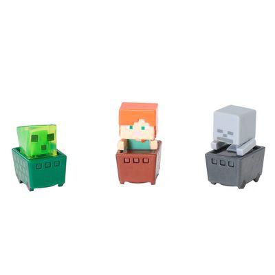 Figuras-Minecraft---Pack-com-3---Cubos-de-Slime---Alex---Esqueleto---Mattel