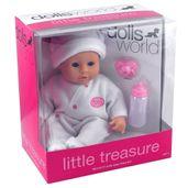 Boneca-com-Acessorios---38-Cm---Pequeno-Tesouro---Dolls-World---Macacao-Branco