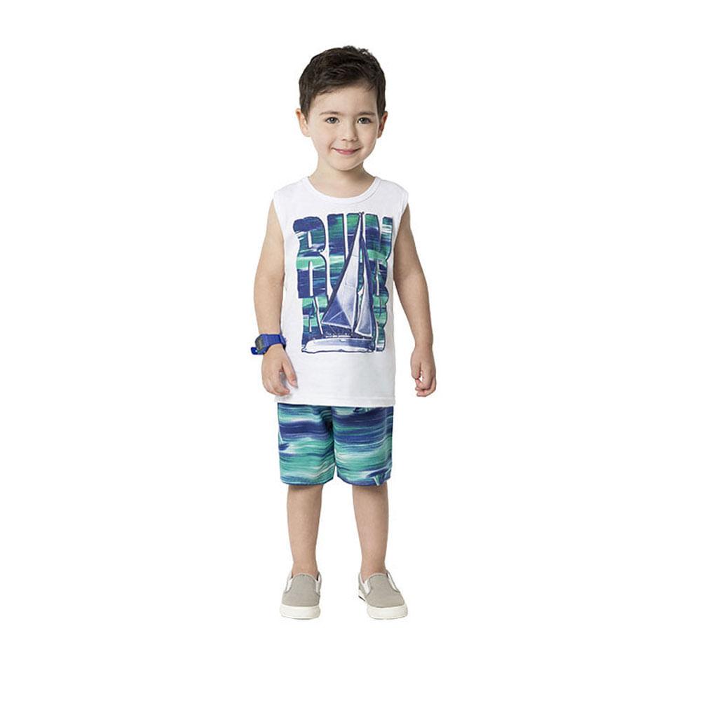Conjunto Infantil - Masculino - Regata e Bermuda - Branco e Azul - Wild Surfer - Kyly
