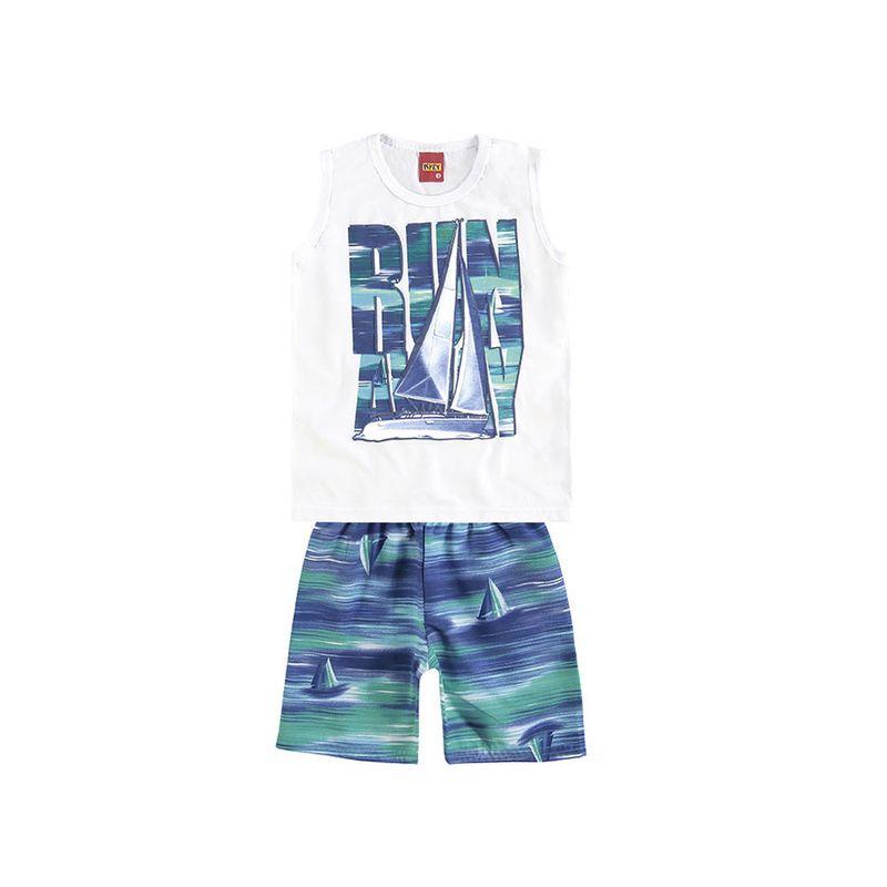 a8e19daee Conjunto Infantil - Masculino - Regata e Bermuda - Branco e Azul ...