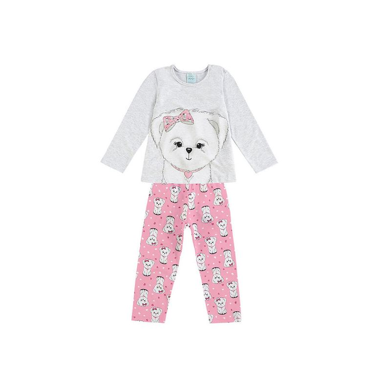 1159a4efc Conjunto - Pijama Infantil Feminino - Cinza e Rosa - Cachorrinha ...