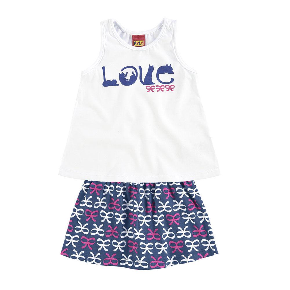 Conjunto Infantil - Regata e Shorts - Feminino - Love - Pets - Branco - Kyly