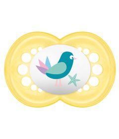 Chupeta-Pearl-Silk-Touch-Girls---Fase-2---Amarelo---Passarinhos---MAM