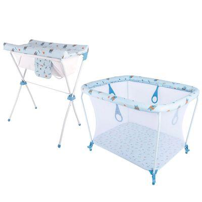 Kit-Banheira-Com-Trocador---Slim-Plus-e-Cercado-Infantil-Park---Azul---Whoop