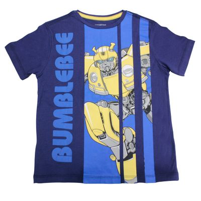 Camiseta-Manga-Curta---Transformers---Bumblebee---Robot---Mescla-Azul---G