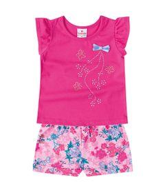 Conjunto---Meia-Malha---Flores-Com-Strass---Rosa-Fucsia---Brandili---P