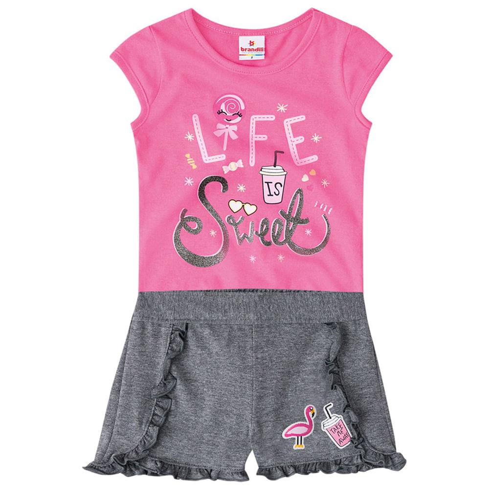Conjunto - Meia Malha - Life Sweet - Rosa Sorvete - Brandili
