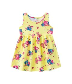 Vestido---Meia-Malha---Flores---Amarelo-Citrico---Brandili---P