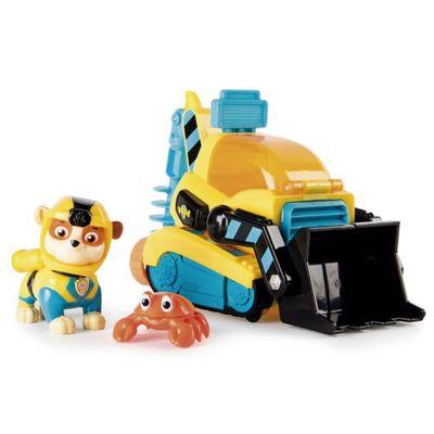 Veiculo-e-Figura---Patrulha-Canina---Missao-Bulldozer---Britadeira---Rubble---Amarela---Azul-e-Preta---Sunny