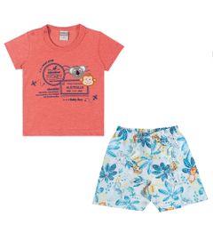 Conjuntinho-Infantil---Camiseta-e-Shorts-Estampado---Australia---Coral---Kamylus---M