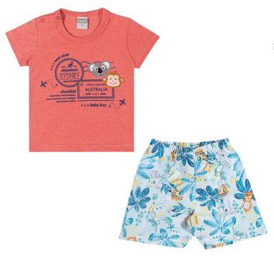 Conjuntinho-Infantil---Camiseta-e-Shorts-Estampado---Australia---Coral---Kamylus---P