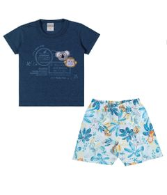 Conjuntinho-Infantil---Camiseta-e-Shorts-Estampado---Australia---Marinho---Kamylus---P