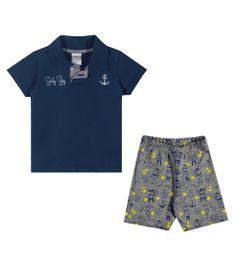 Conjuntinho-Infantil---Camiseta-Polo-e-Shorts-Estampado---Baby-Boy---Marinho---Kamylus---M
