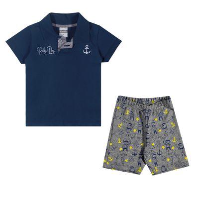 Conjuntinho-Infantil---Camiseta-Polo-e-Shorts-Estampado---Baby-Boy---Marinho---Kamylus---P