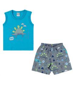 Conjuntinho-Infantil---Regata-e-Shorts-Estampado---Dino---Azul---Kamylus---M