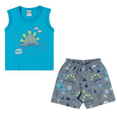 Conjuntinho-Infantil---Regata-e-Shorts-Estampado---Dino---Azul---Kamylus---P