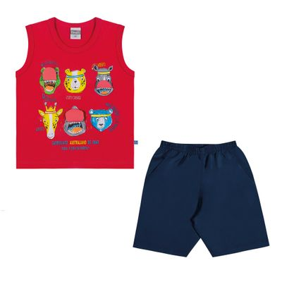Conjuntinho-Infantil---Regata-Estampada-e-Shorts---Animais---Vermelho---Kamylus---1