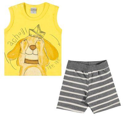 Conjuntinho-Infantil---Regata-Estampada-e-Shorts---Cachorrinho---Amarelo---Kamylus---P