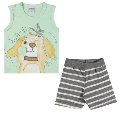 Conjuntinho-Infantil---Regata-Estampada-e-Shorts---Cachorrinho---Verde---Kamylus---P