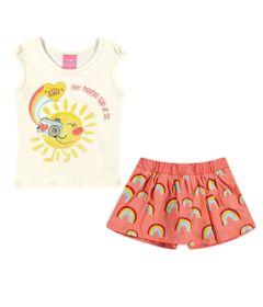 Conjuntinho-Infantil---Regata-Estampada-e-Shorts-Saia---Arco---Iris---Amarelo-e-Laranja---Kamylus---P
