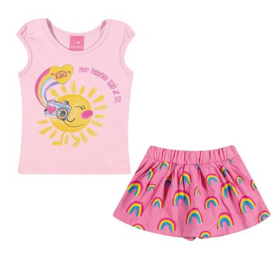 Conjuntinho-Infantil---Regata-Estampada-e-Shorts-Saia---Arco---Iris---Rosa-e-Pink---Kamylus---M