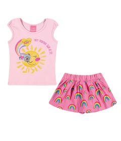 Conjuntinho-Infantil---Regata-Estampada-e-Shorts-Saia---Arco---Iris---Rosa-e-Pink---Kamylus---P