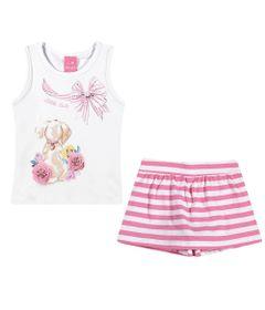Conjuntinho-Infantil---Regata-Estampada-e-Shorts-Saia-Listrado---Mescla-Pink---Kamylus---P