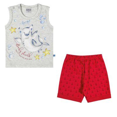 Conjuntinho-Infantil---Regata-Estampada-e-Shorts---Tubarao---Mescla---Kamylus---P