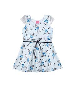 Vestido-Infantil---Jacquard---Fadas---Azul-com-Lacinho-Preto---Kamylus---1