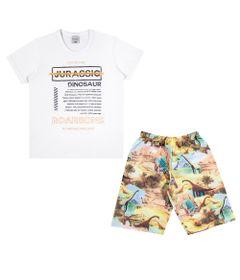 Conjuntinho-Infantil---Camiseta-e-Bermuda-Estampada---Dinossaur---Branco---Kamylus---4