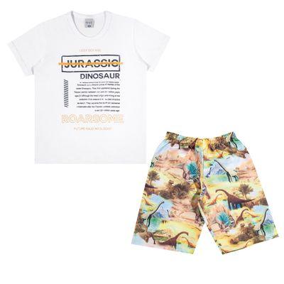 Conjuntinho-Infantil---Camiseta-e-Bermuda-Estampada---Dinossaur---Branco---Kamylus---8