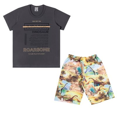 Conjuntinho-Infantil---Camiseta-e-Bermuda-Estampada---Dinossaur---Preto---Kamylus---4