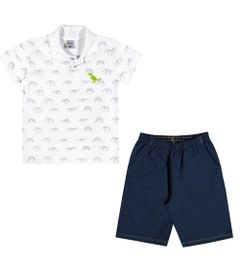 Conjuntinho-Infantil---Camiseta-Polo-e-Bermuda---Dino---Branco---Kamylus---4