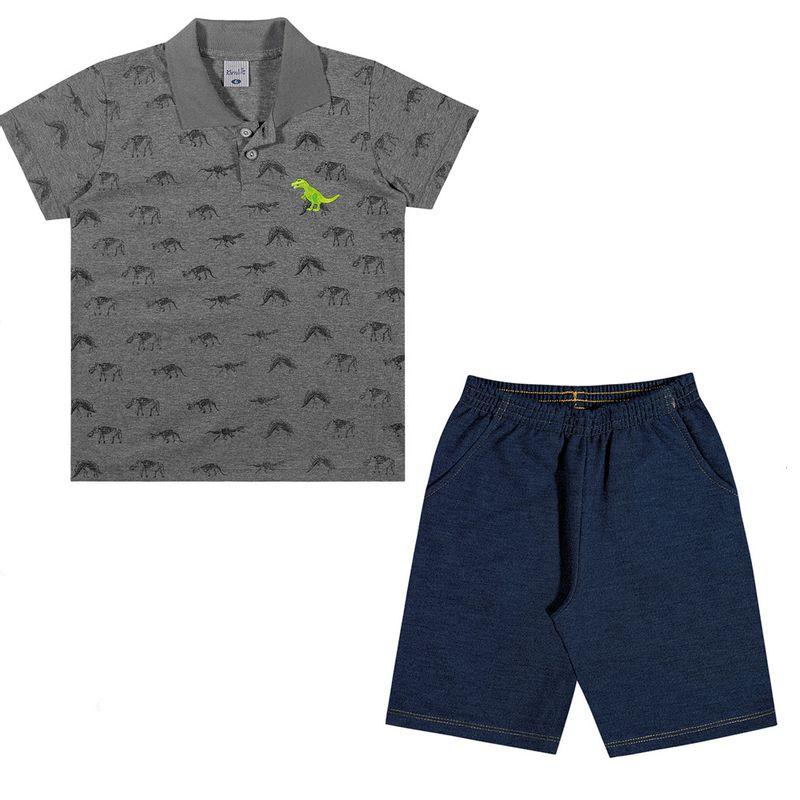 752acf3b52 Conjuntinho Infantil - Camiseta Polo e Bermuda - Dino - Preto ...