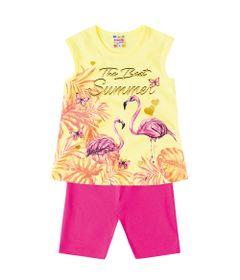 Conjuntinho-Infantil---Blusa-Estampada-e-Bermuda----Rosa-e-Amarelo---Flamingos---Brandili---1