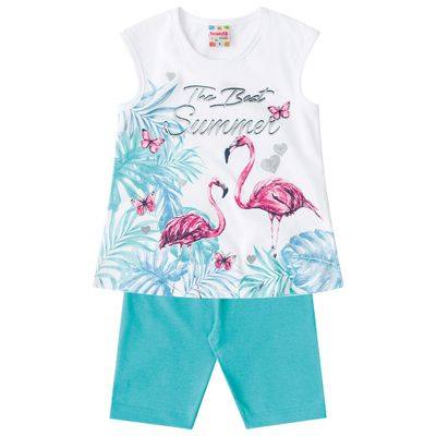 Conjuntinho-Infantil---Blusa-Estampada-e-Bermuda----Verde-e-Branco---Flamingos---Brandili---1