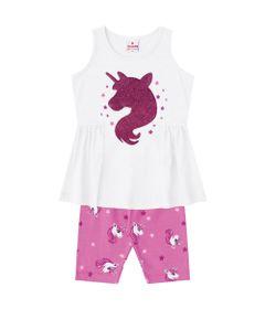 Conjuntinho-Infantil---Camisa-Estampada-e-Bermuda---Branco-e-Rosa---Unicornio---Brandili---1
