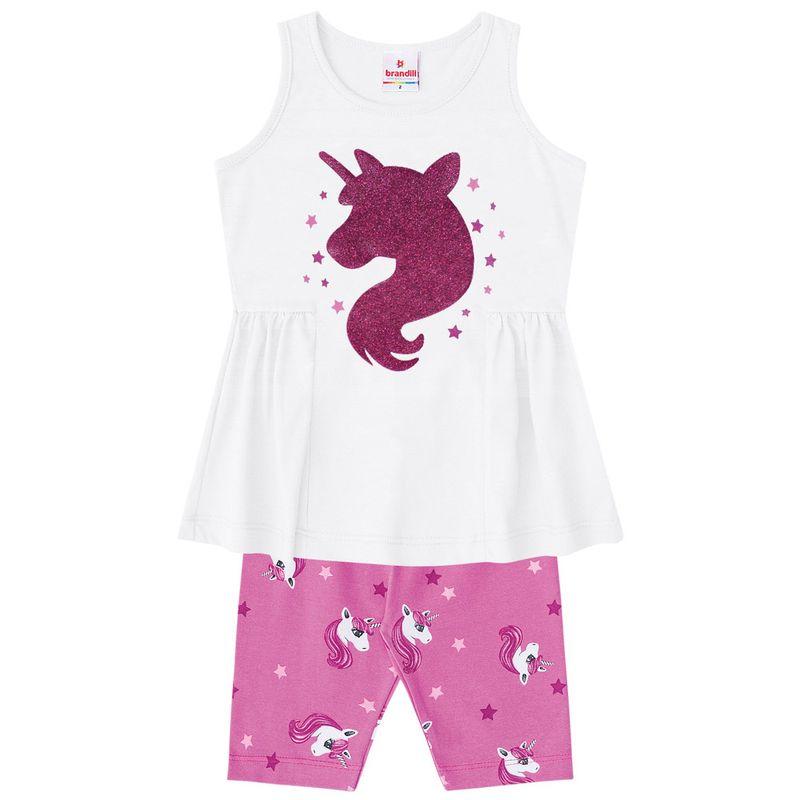Conjuntinho Infantil - Camisa Estampada e Bermuda - Branco e Rosa ... 62a4e4c858b9f