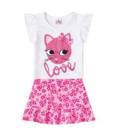 Conjuntinho-Infantil---Cotton---Blusa-Estampada-e-Shorts---Branco-e-Rosa---Brandili---1