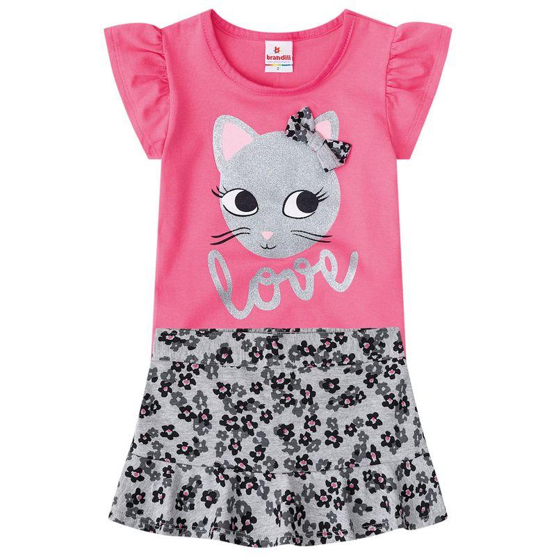 d035382d93a73 Conjuntinho Infantil - Cotton - Blusa Estampada e Shorts - Cinza e Rosa -  Brandili - Ri Happy Brinquedos