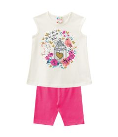 Conjuntinho-Infantil---Meia-Malha---Blusa-Estampada-e-Shorts---Bege-e-Rosa---Brandili---1