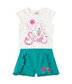 Conjuntinho-Infantil---Meia-Malha---Blusa-Estampada-e-Shorts---Bege-e-Verde---Brandili---1