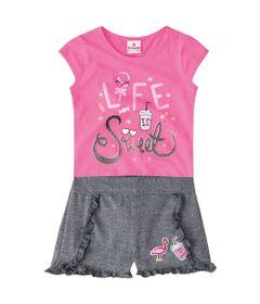 Conjuntinho-Infantil---Meia-Malha---Blusa-Estampada-e-Shorts---Rosa-e-Cinza---Brandili---1