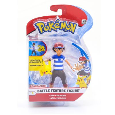 Figura-Articulada---11-Cm---Pokemon---Battle-Feature-Figure---Ash-e-Pikachu---DTC