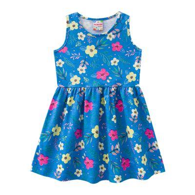 Vestido-Infantil---Meia-Malha---Floral---Azul---Brandili---1